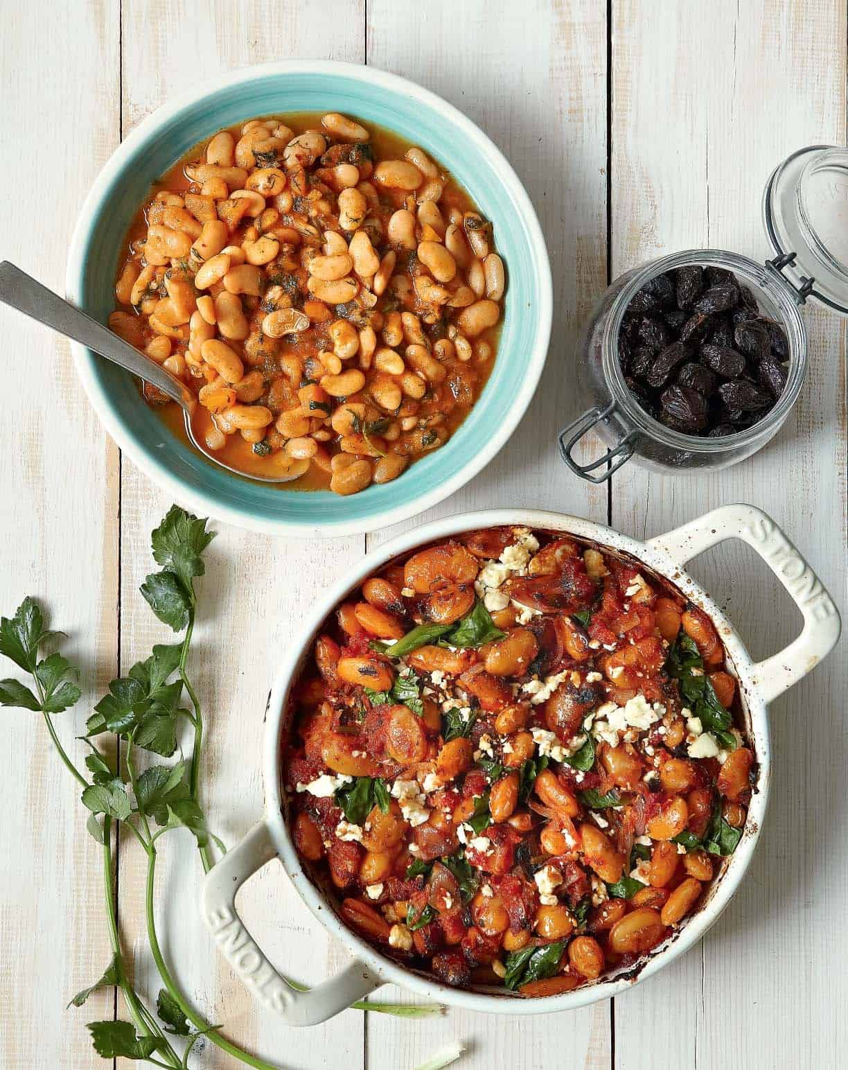 Giant beans with feta cheese and spinach
