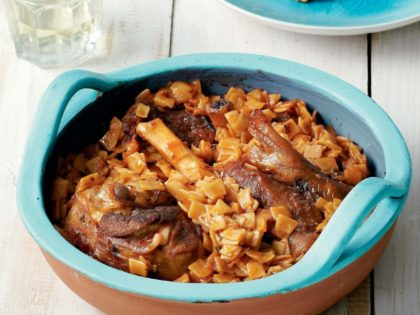 Oven baked lamb with egg pasta