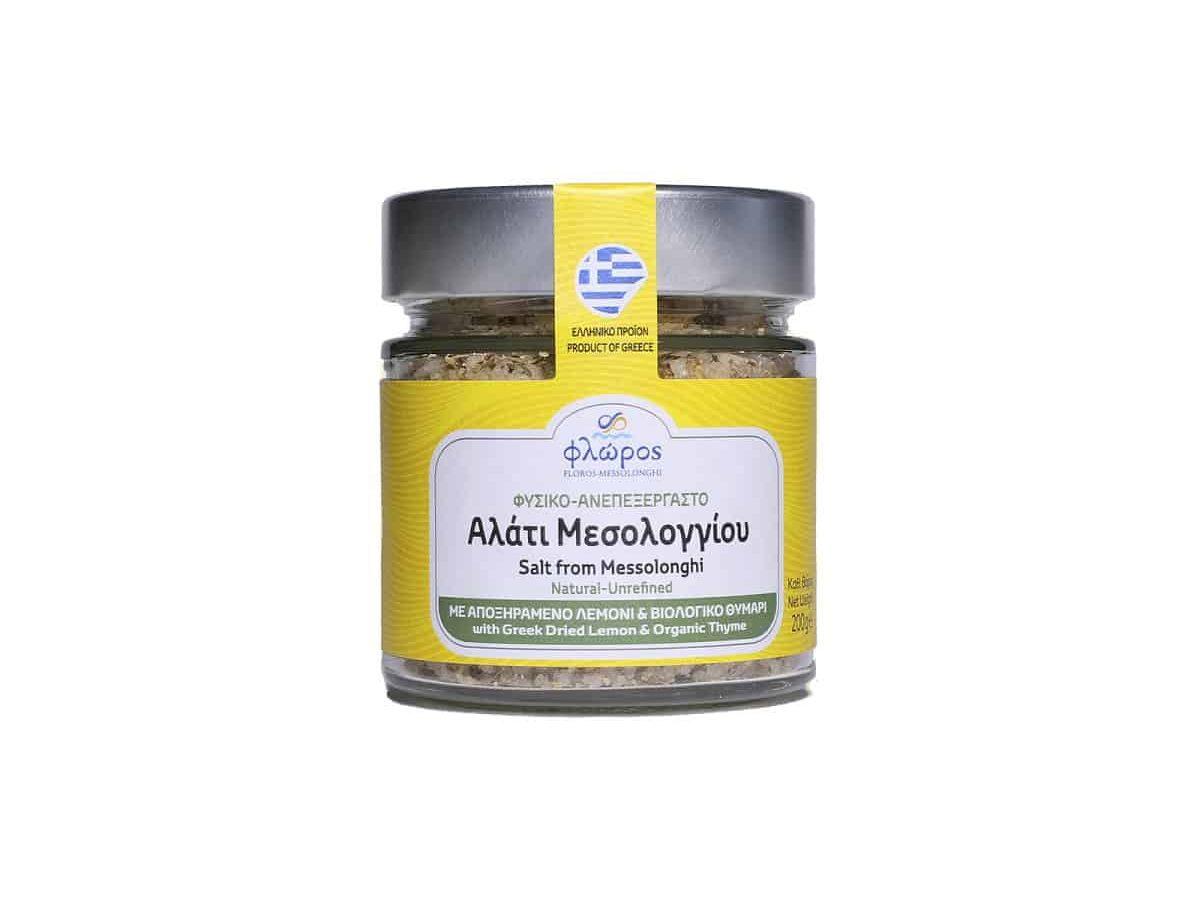 Salt with dried lemon and organic thyme